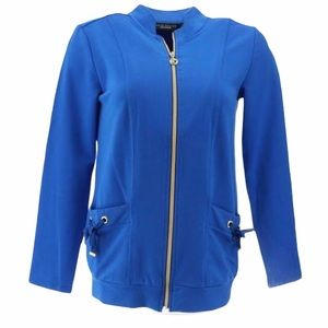 Susan Graver French Terry Zip Up Jacket Blue
